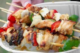 Kip Kebab Voor Op De Barbeque