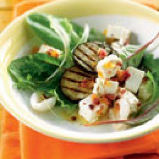 Salade Met Jonge Slablaadjes En Gegrilde Aubergine
