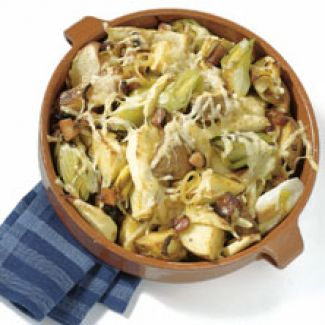 Prei-aardappelschotel