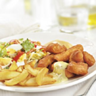 Gebakken Aardappeltjes Met Kibbeling